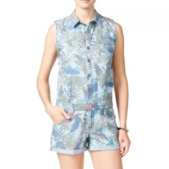 554bb76cf50f Hudson Harmony Floral Denim Rompers Size Small NWT